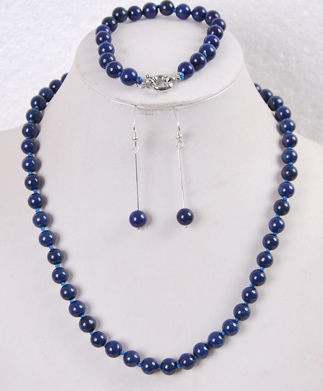 FFREE NAKLIYE ** 8mm Lapis Lazuli Yuvarlak Boncuk Kolye Bilezik Küpe Takı seti