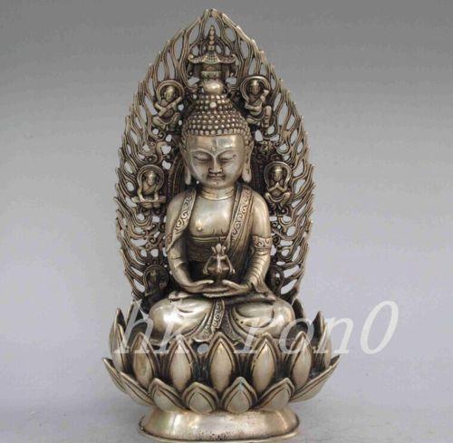 Statue de Jicang exquise chinoise ancienne Bouddha de cuivre blanc Boutique du Tibet