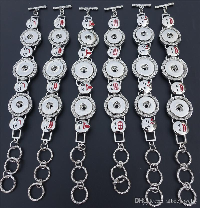 Mix Styles Enamel Grimace Smile Faces Noosa Chunks Metal Ginger 18mm Snap Buttons Bracelet Unisex Jewelry