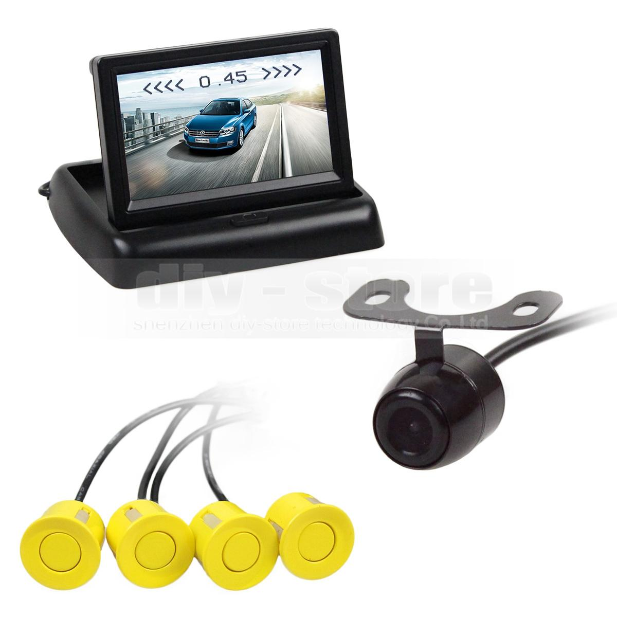 Vídeo Estacionamento Radar 4.3 Polegadas Dobrável Rear View Monitor Do Carro + 4 Sensores de Estacionamento + Câmera Do Carro Da Vista Traseira