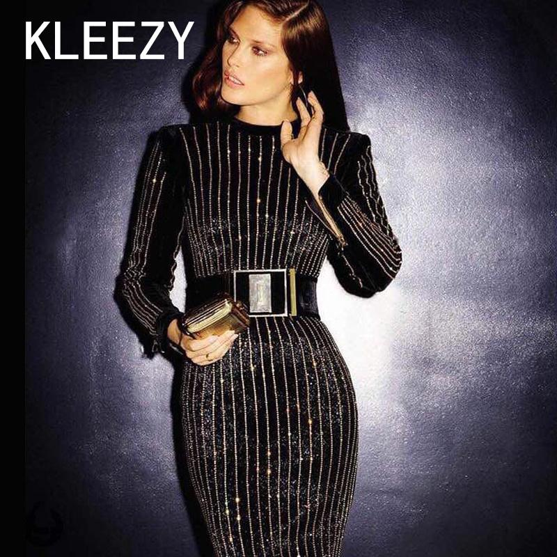 All'ingrosso- 2016 di lusso manica lunga inverno abito da donna sexy abiti neri con strisce di diamante O Neck Mid Calf Celebrity Party vestito aderente