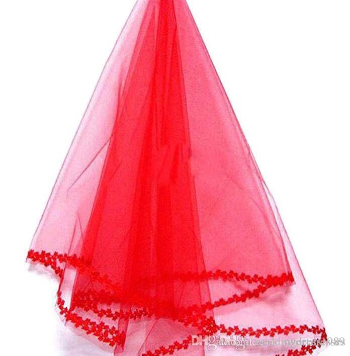 Deslumbrante véus nupciais curtas de uma camada vermelha com cor de laço cor barato véu de casamento acessório de casamento frete grátis em estoque