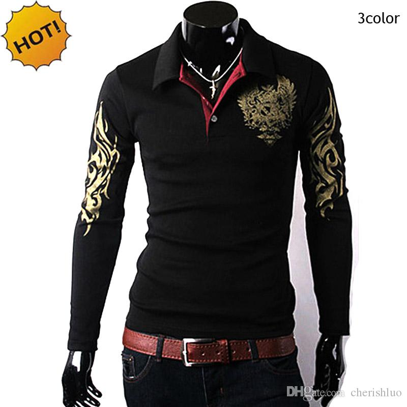 New 2017 Spring Autumn Winter Big Eagle printing Thermal Men Polo Shirt Lapel Slim Fit Long Sleeve Joker Pullover Polos Hombre