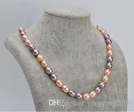 Venda quente 7-8mm rosa roxo cor Misturada arroz natural forma colar de pérolas 17 polegada 925 fecho de prata XL143-178