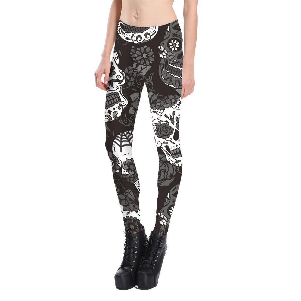 Stampa digitale in bianco e nero fiori scheletro mutande sexy pantaloni stretti pantaloni di yoga pantaloni casual