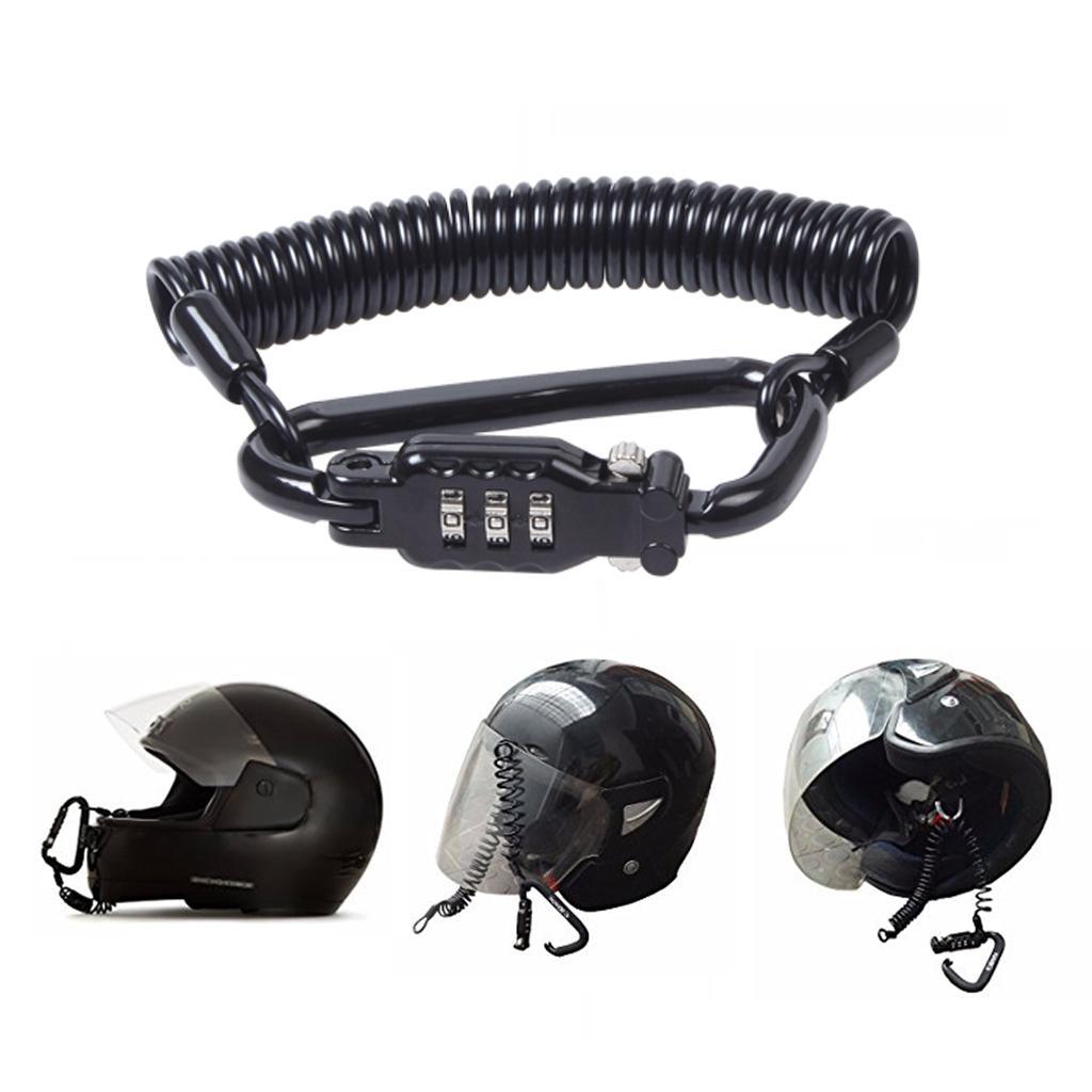 Bloqueo de PIN de 3 dígitos Bloqueo de casco de motocicleta multifunción con cable de acero fuerte ajustable para asegurar su casco a su motocicleta