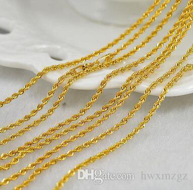 Collana autentica in oro giallo 18 carati / collana con catena a fune da uomo / 2-3 g