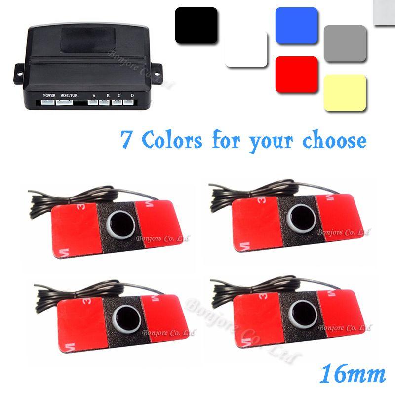 자동차 자동차 주차 역방향 백업 레이더 사운드 경고 16mm 12V 7 색 역방향 지원 + 4 센서, 무료 배송