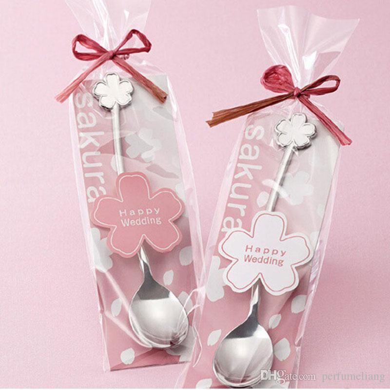 Sakura Flower Shape Tableware Zucchero Acciaio inossidabile Argento Tè e Caffè Gelato Cucchiaino Cucchiaini cucchiaini Bomboniera ZA3399