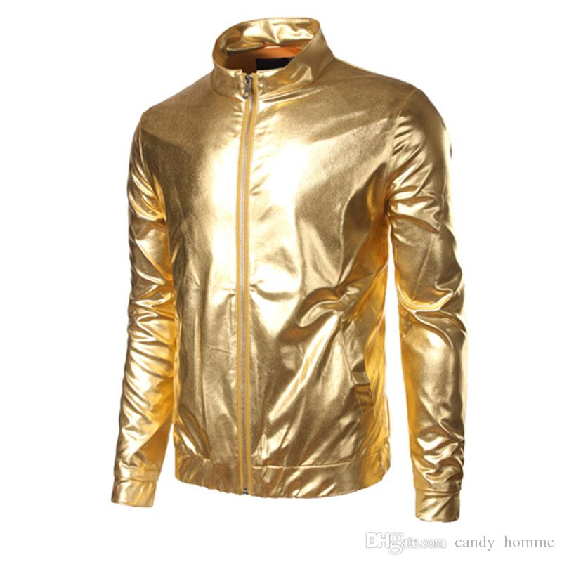 plus grand choix de divers styles magasin discount Christmas Party Mens Jacket Nightclub Trend Metallic Gold Shiny Jacket Men  Veste Homme Fashion Brand Front Zip Lightweight Bomber Jacket Leather ...