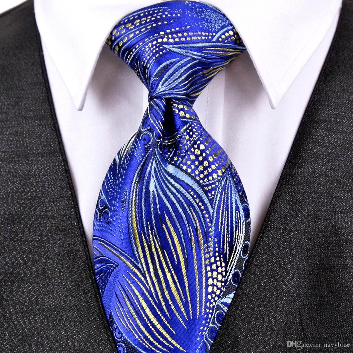 Handgemachte J22 Blumenmuster Royal Blue Gelb Mens Ties Krawatten 100% Seide Jacquard Woven Fashion Kostenloser Versand Großhandel