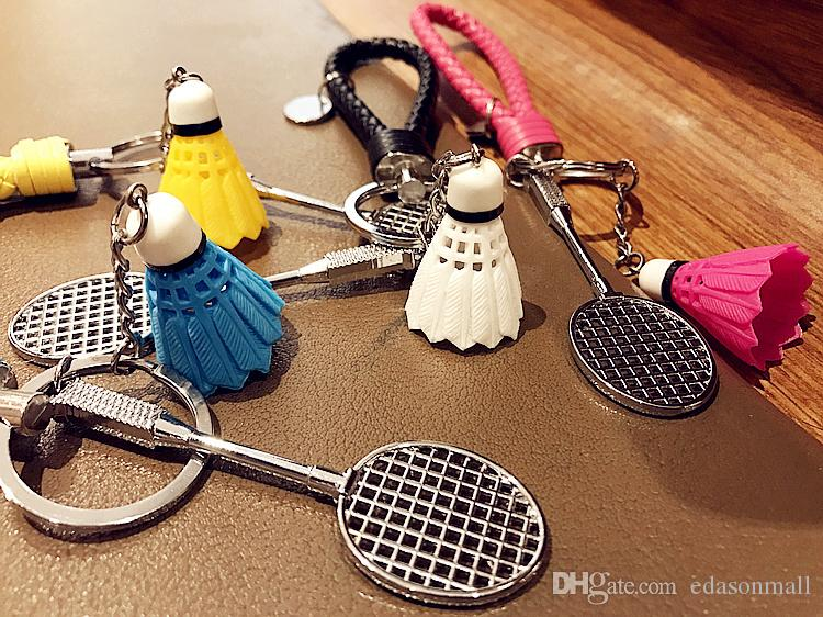 Metal Small Badminton Racket Keychains Colorful Decoration Sport Souvenir Keyring Mini 3D Badminton Keychain Key Rings Sports Gifts B771LR