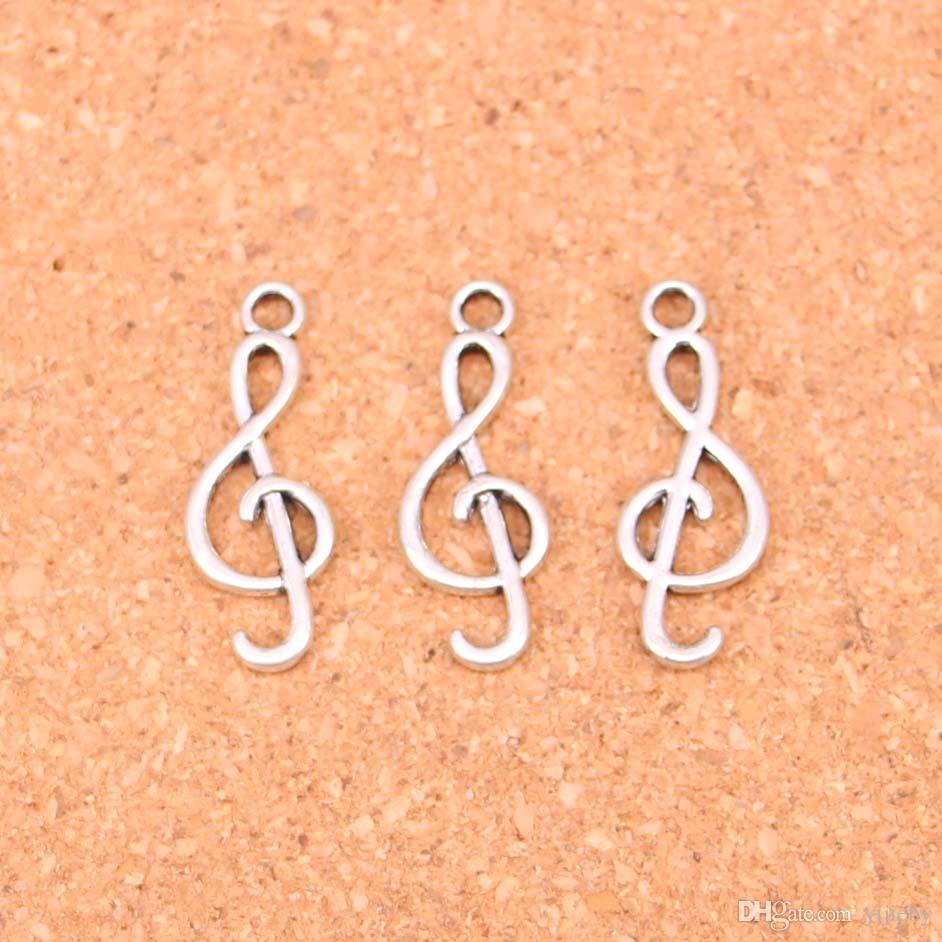 Wholesale 120pcs Fashion Antique silver musical note charms metal pendants for diy jewelry findings 25*9mm