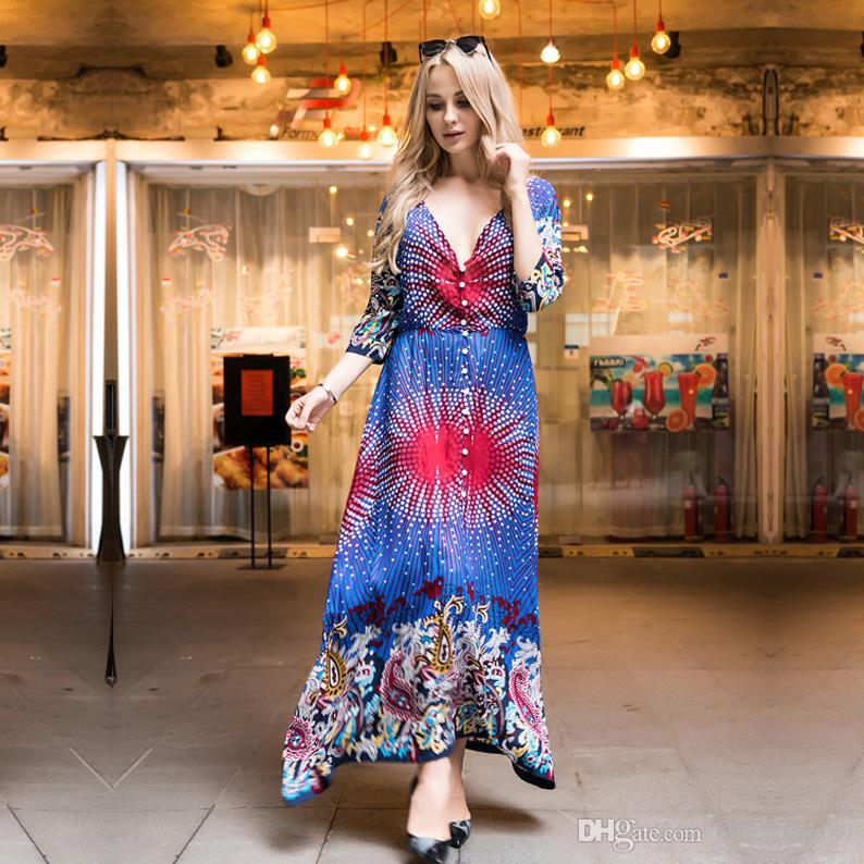 Summer boho dresses for womens casual plus size summer maxi printing bohemian style dresses sleeves loose waist V neck dress women clothes