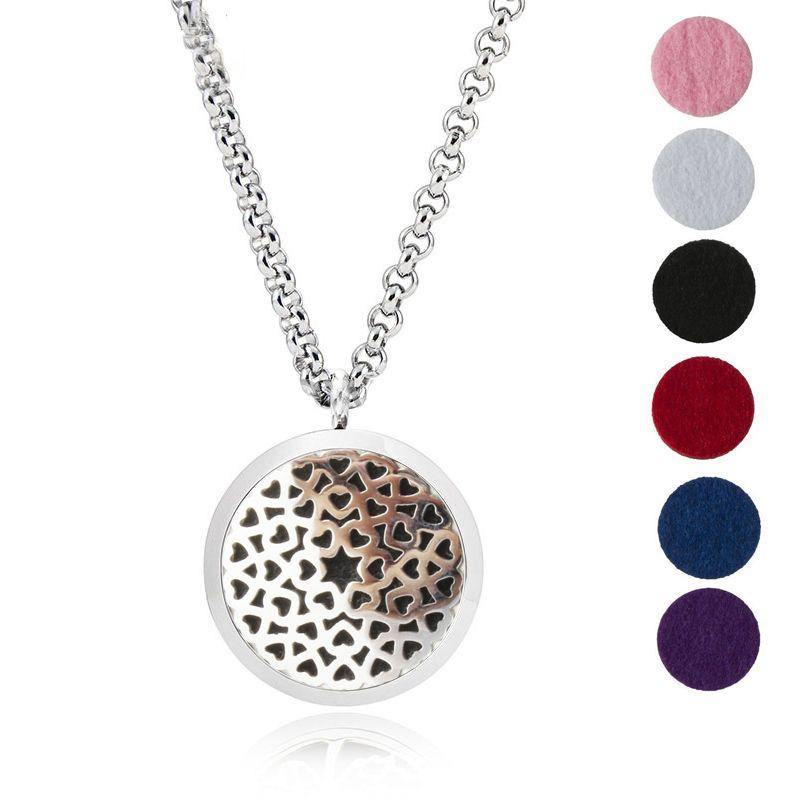 Aroma Jewelry 30mm Perfume Locket 316L Stainless Steel Essential Oil Aromatherapy Diffuser Locket Pendant (Send Chain Felt Pad) LOVE