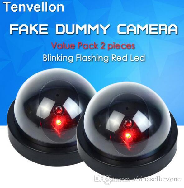 값 팩 2pcs 더미 CCTV 카메라 플래시 깜박 LED 가짜 카메라 보안 시뮬레이션 된 비디오 감시 가짜 카메라