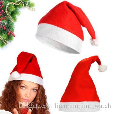 빨간 산타 클로스 모자 울트라 부드러운 봉제 크리스마스 코스프레 모자 크리스마스 장식 성인 크리스마스 파티 모자 CCA7310 300pcs