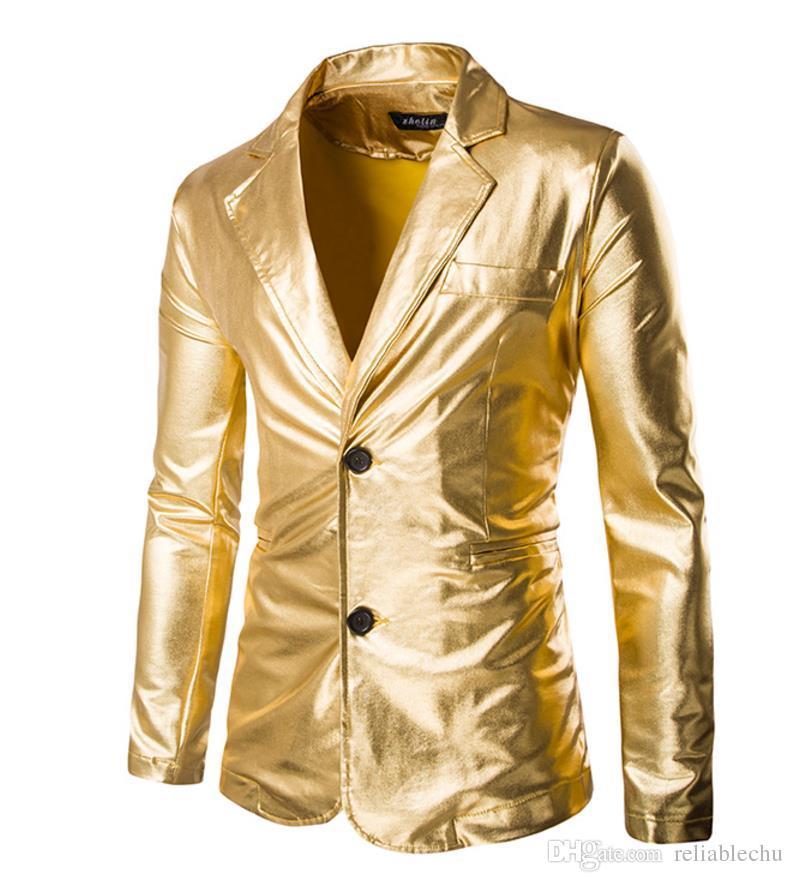 Hot stamping Kostüm Blazer Anzüge Mantel Männer Flare Helle goldene Silber Farbe Stehkragen Herren Nachtclub Partei Jacke Mantel freies Verschiffen X60