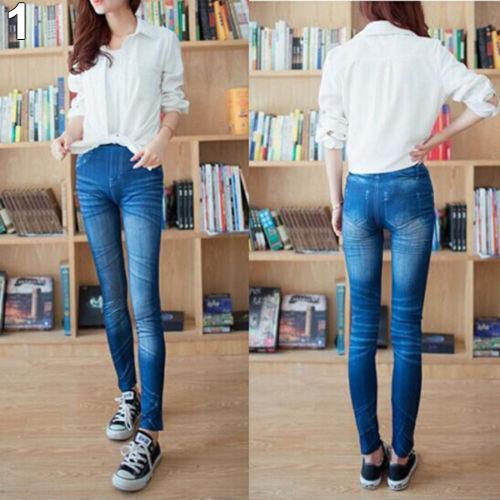 Atacado- Bluelans Moda Feminina Senhoras Impresso Imitado Estilo Verão Skinny Magro Jeans Stretchy Jeggings Calças Leggings Roupas
