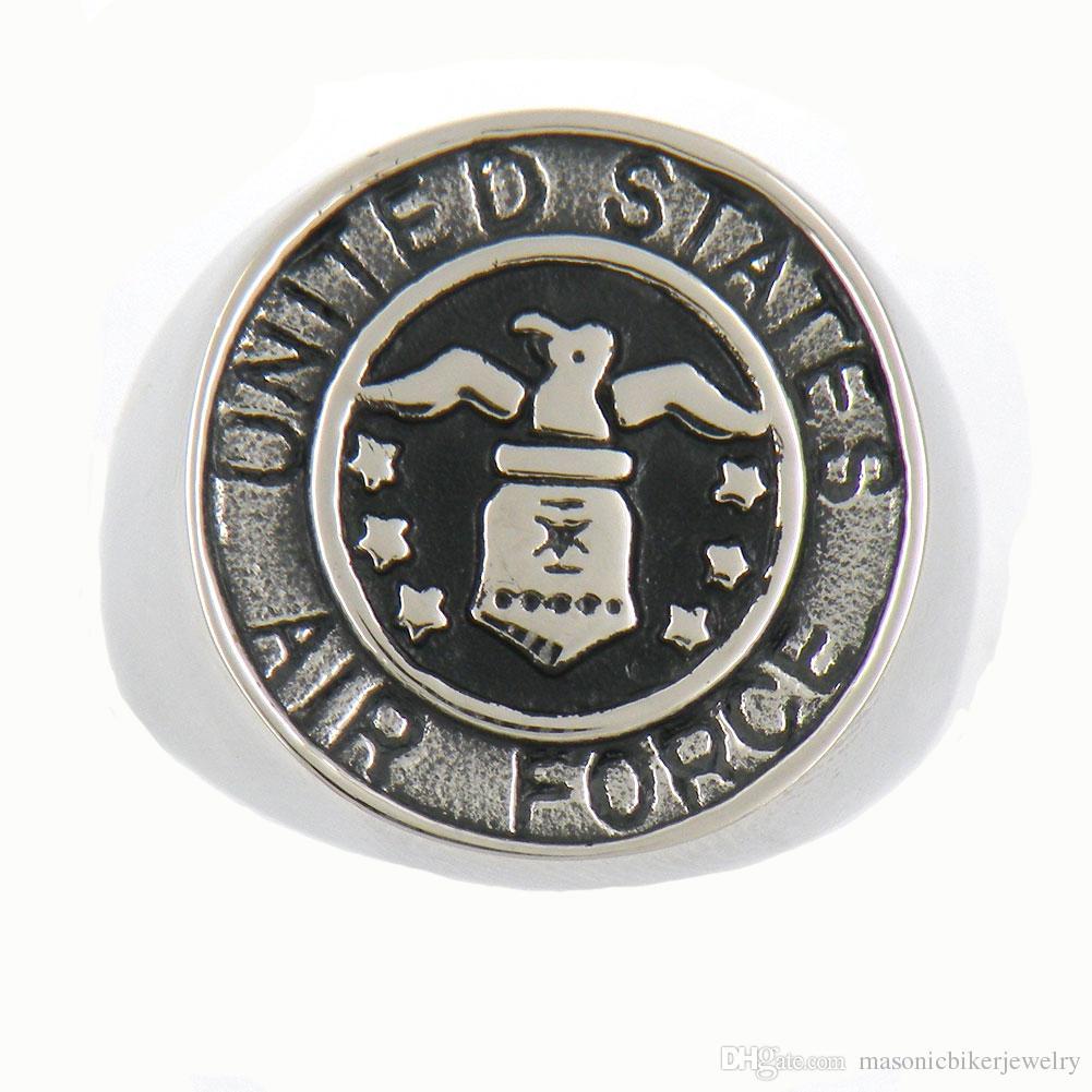 FANSSTEEL PUNK aço inoxidável homens do vintage ou wemens jóias militar dos Estados Unidos AIR FORCE anel maçônico RING13W81