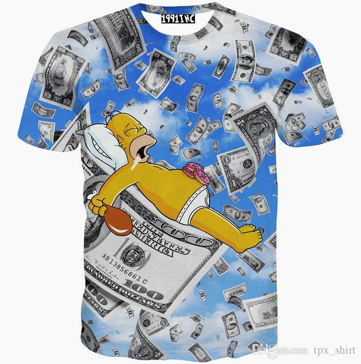 Sleep on dollor T shirt 1991inc money short sleeve gown Street casual tees Street printing clothing Unisex cotton Tshirt