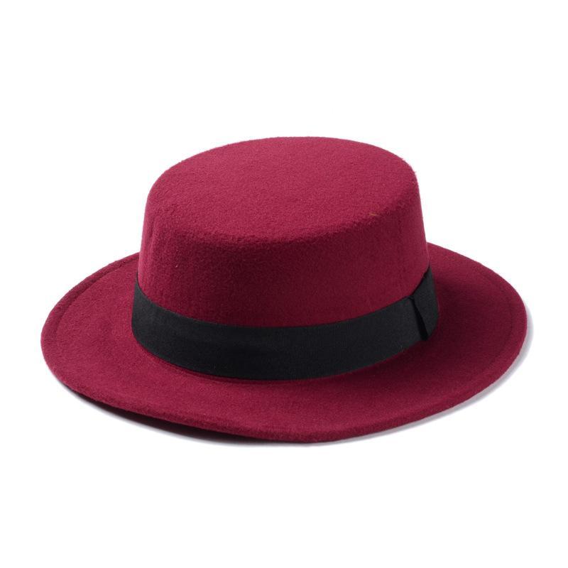 Neue Art und Weise Männer Frauen Wool Cap Weit Mischung Bowler Cap Porkpie Flat Top Hutkrempe Flat Top Hat Boater Sailor