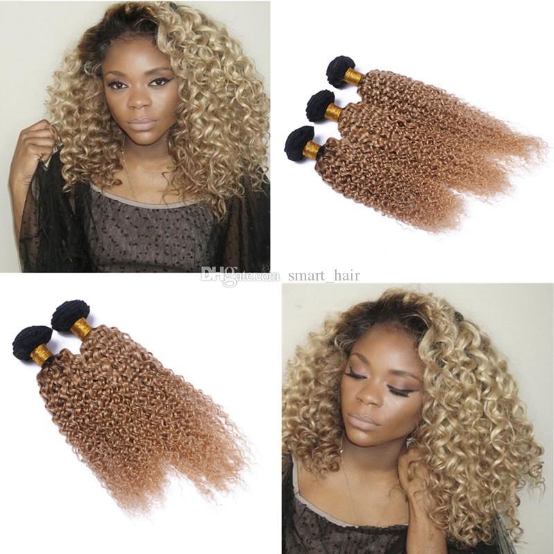 Dark Root 1B 27 Kinky Curly Hair Weaves 4pcs Two Tone Honey Blonde 1B 27 Brazilian Virgin Human Hair Weft Extension For Woman
