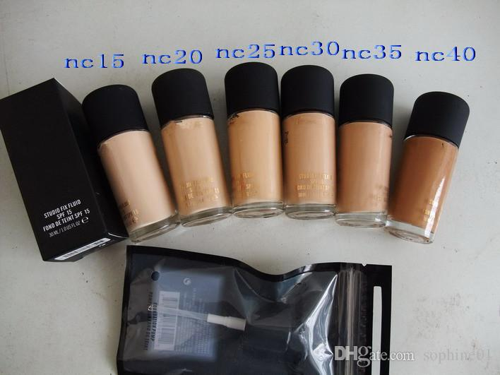 Wholesale Foundation 2pcs/lot nc15 nc20 nc25 nc30 nc35 nc40 FLUID FOND DE TEINT SPF 15 30ml Liquid Foundation With Pump