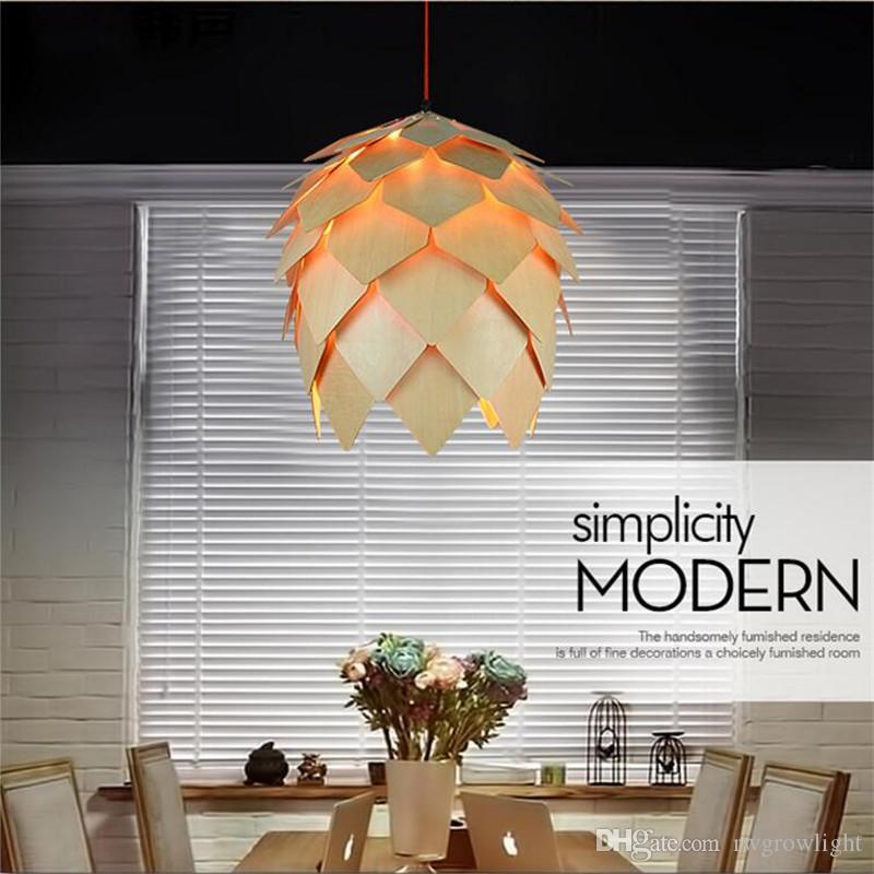 Bricolaje de madera Led Luces pendientes piña hecha a mano moderna IQ Rompecabezas Inicio restaurante Colgando del cono del pino de madera comedor sala de luz