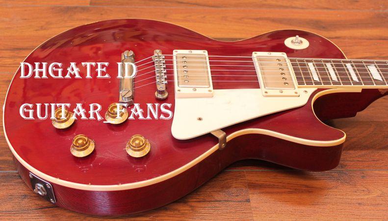 سوبر نادر لوسي التوقيع الأحمر قرمزي خمر الغيتار الكهربائي الذهب الأدواظ بلوك ممسحة الأصابع البطانة الذهب الأجهزة pickguard الأبيض