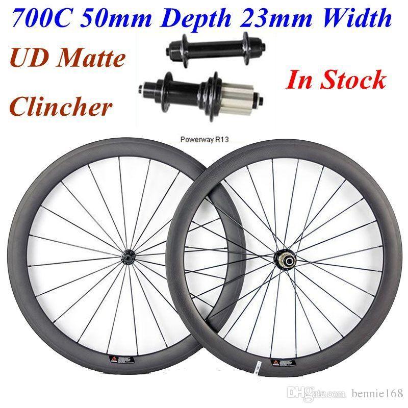 Roues carbone 700C 50 mm Profondeur 23 mm Largeur Powerway UD Matte Hubs R13 Full Carbon Clincher Vélo de route Wheelset