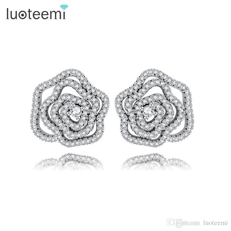 LUOTEEMI New Love Gifts Pendientes con forma de flor Jewelry White Gold-Color CZ Cristales Romantic Brincos con mujeres Wedding