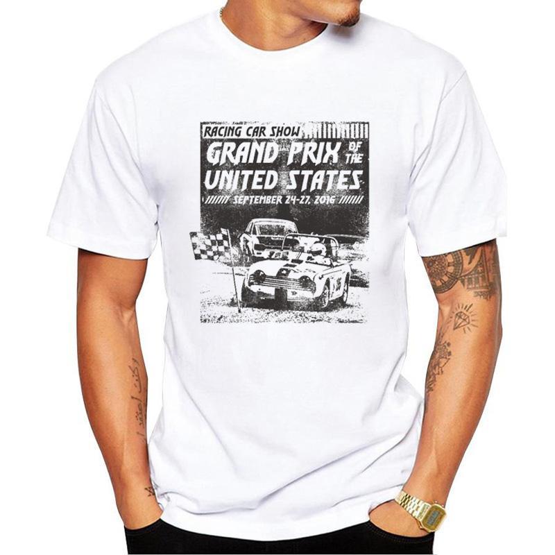 2017 мода Гран-При автосалон печати футболки мужские футболки шорты рукав новый летний мужчина топы тис случайные рубашки для мужчин