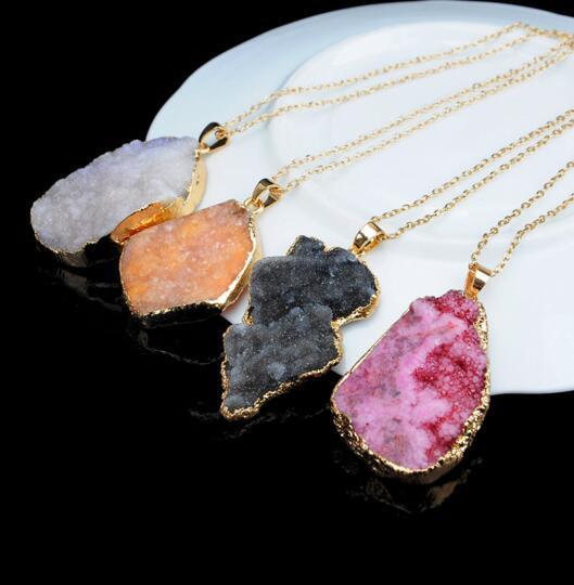 Druzy الكوارتز الحجر الطبيعي غير النظامية جيود لون الذهب الخام nyx حجر قلادة قلادة سلسلة للنساء الكوارتز قلادة مجوهرات اكسسوارات