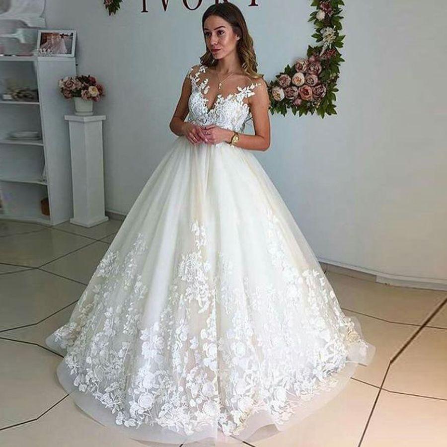 Sheer Lace Branco / Marfim vestidos de noiva sem mangas apliques Top decote até o chão vestidos de noiva Custom Made