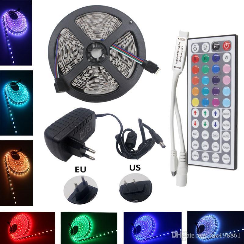 RGB LED tira de luz a prueba de agua 5050 SMD cinta de diodo led cinta flexible DC 12V 5m IR MINI controlador DC 12v adaptador adaptador