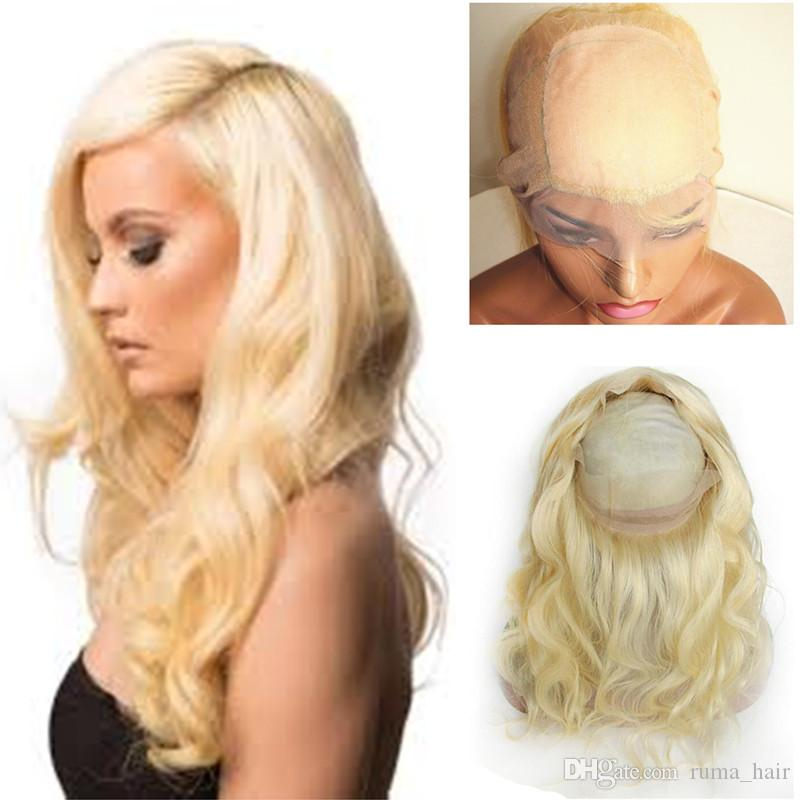 Neu kommt # 613 Blonde 360 Lace Frontal Pre Zupforchester Körper-Wellen-Silk Basis 360 Fulll Spitze-Stirnseite mit dem Babyhaar 4 * 4 Silk Top