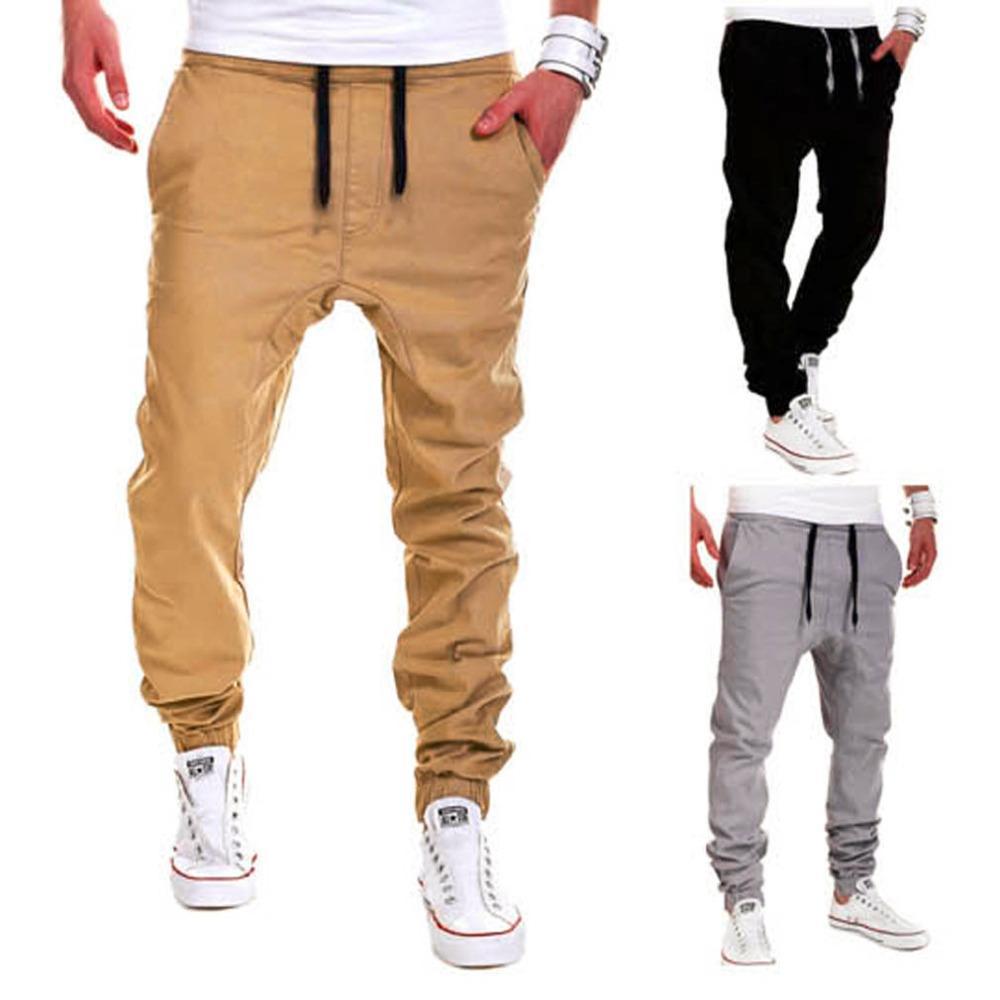 Toptan-Sonbahar Kış Yeni Moda Tasarım Erkekler Erkek Iyi Rahat Katı Pantolon Sweatpants Jogger Adam Pocket Pantolon Elastik Bel