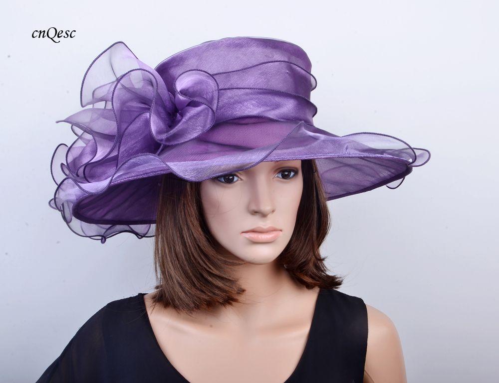 Cappello da cerimonia formale da donna in organza color prugna per Derby Party Church