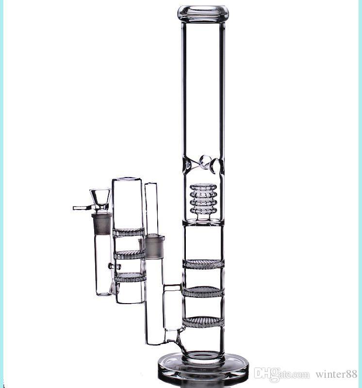 """17 """"grandes bongos de água 18mm inebriante reciclar plataformas de petróleo turbina bubbler triplo favo de mel perc tubos de vidro tigela cinzas coletor 18.8mm"""