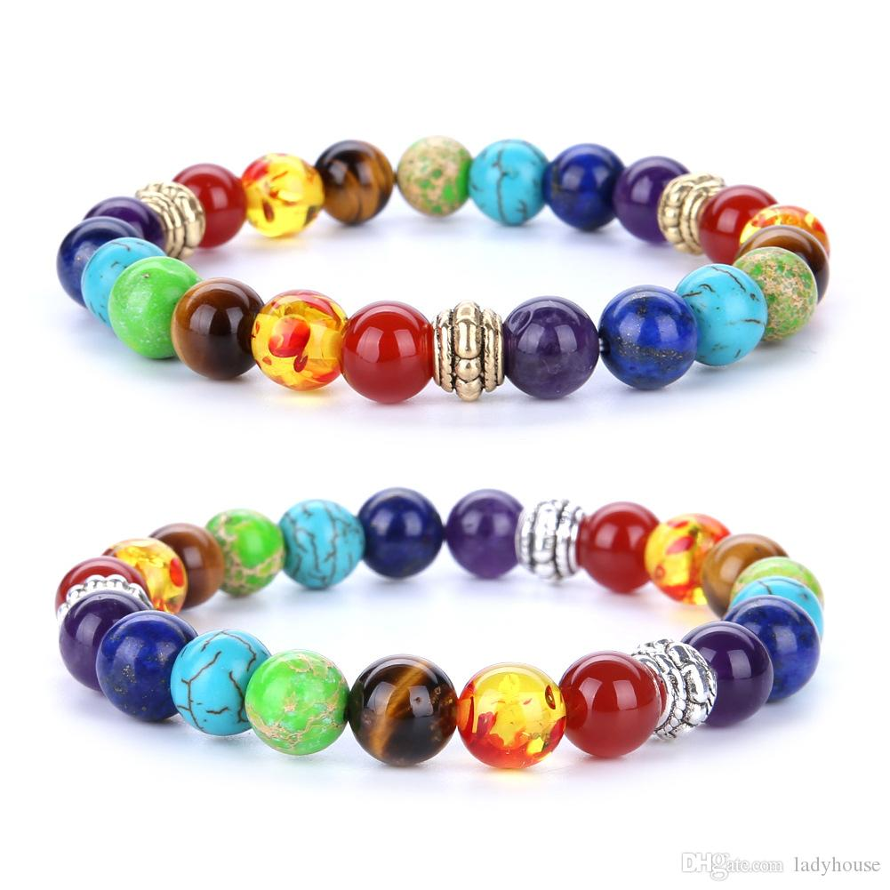Wholesale 7 Chakra Colorful Bead Bracelet Volcanic Stone Lava Rock Handmade Agate Amethyst Beaded Hand String Free Shipping