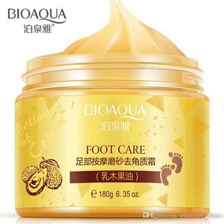 Las mercancías en stock BIOAOUA masaje de pies exfoliante Scrub crema exfoliante cuidado de los pies crema anti agrietamiento envío libre poner crema