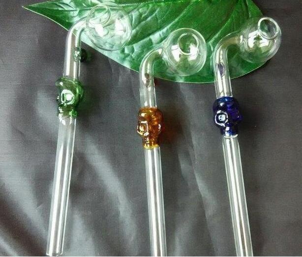 Оптовая стеклянные кальян аксессуары, стеклянные бонг аксессуары, цвет dapao череп кости длина трубы 16 см, бесплатная доставка, большой лучше