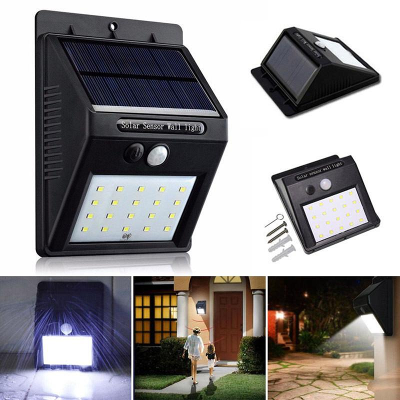 PIR Sensor Wall Light Security Spotlight Solar Power LED Garden 6000k UK Black