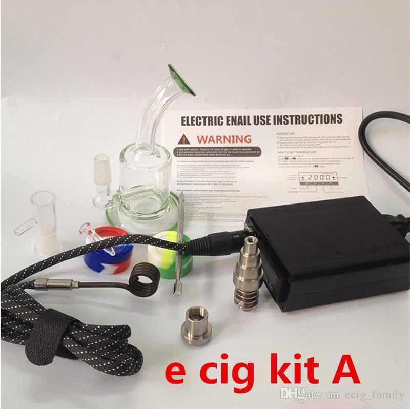 Mise à jour d Kit Ongles Dry Herbal Digital PID Électronique Dab Domeless Titanium Nail eNail WAX Vaporisateur Recycleur Plateforme pétrolière en verre concentrée Bong