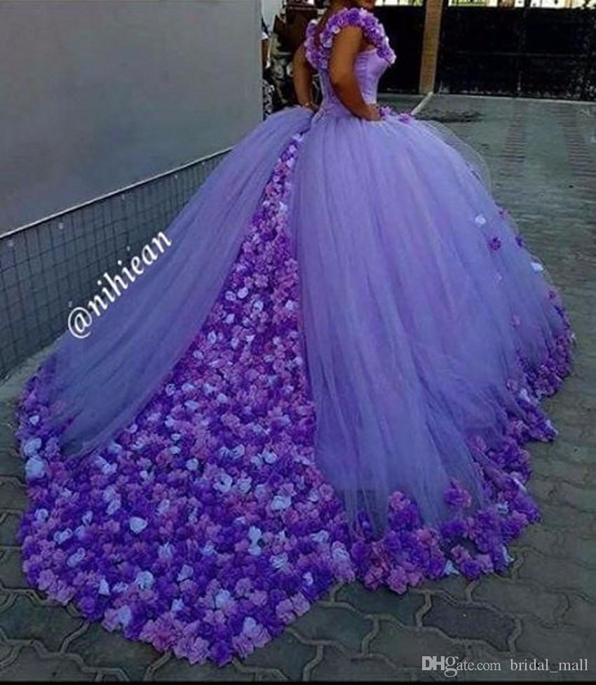 Princess Light Purple Wedding Dresses 2017 Hand Made Flowers Lace