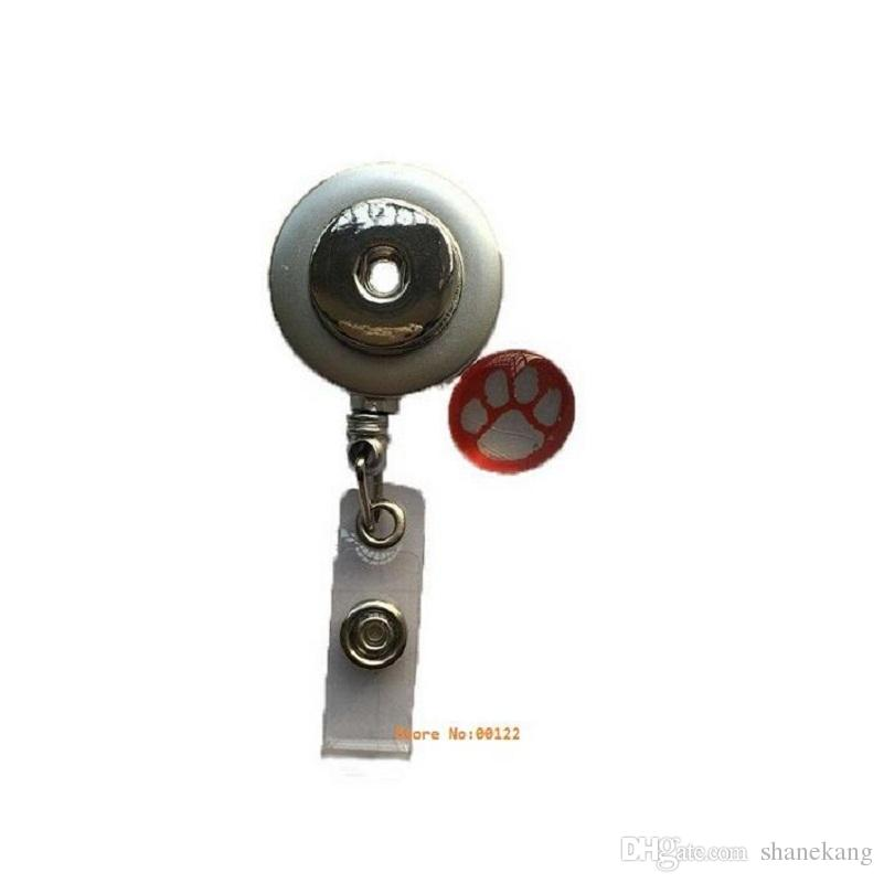 1Silver 스냅 버튼 신장 가능한 안경 홀더 ID 배지 홀더 키 체인 이름 태그 홀더 브로치 맞춤 18MM 스냅 버튼