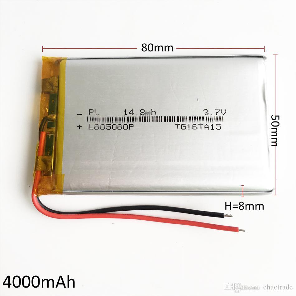 Modell 805080 3,7 V 4000 mAh Lithium-Polymer-Li-Po-Akku für DVD-PAD-Handy GPS Energienbank Kamera E-Books Recoder TV-Box