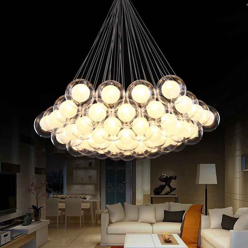 Lámparas colgantes Arte Moderno Arte de cristal Lámpara LED LED para sala de estar Bar AC85-265V G4 Bombilla Lámpara colgante Lámpara