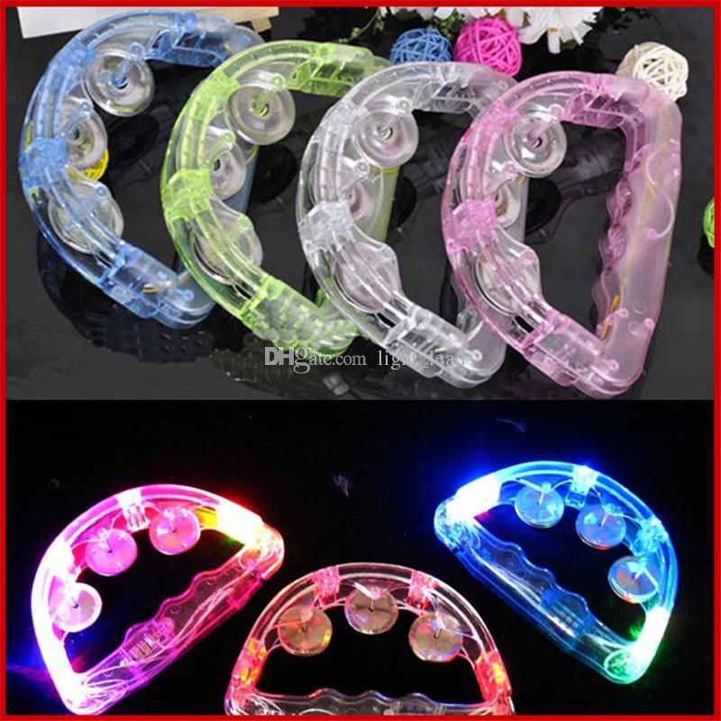 LED lampeggiante Tambourine Rattle Bell Bell Bambini accendi il giocattolo luminoso KTV Bar Decorazione Decorazione Glow Luci LED Forniture per feste